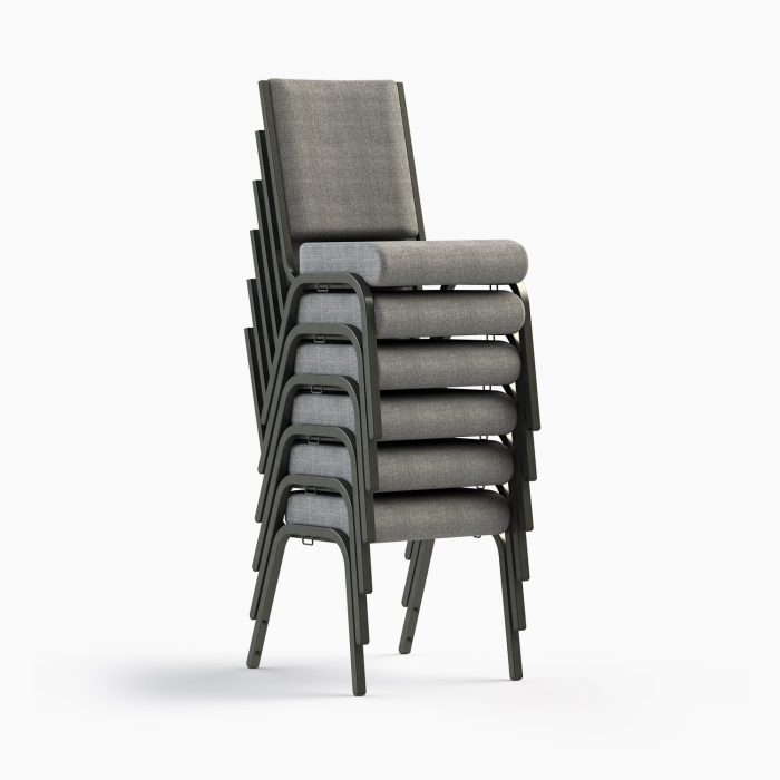"""661-18"""" Shown in AW 19 Charcoal Fabric & Silvervein Frame (Stacked)"""