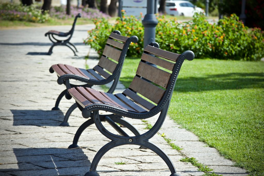 Outdoor Benches from old church pews