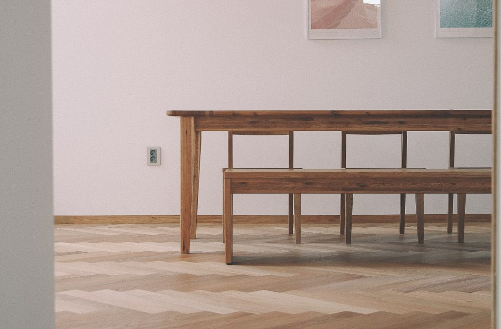 wooden table from old church pews